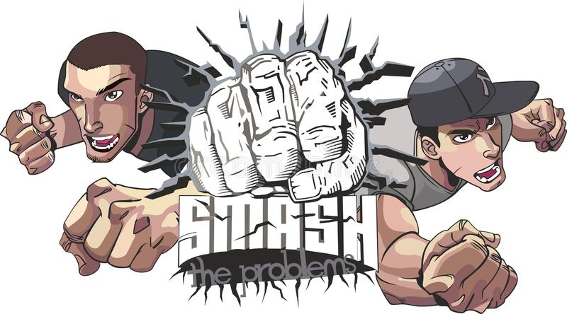 Smash The Problems. The main thing is to know how to tear down complex problems. Good design for T-shirts royalty free illustration