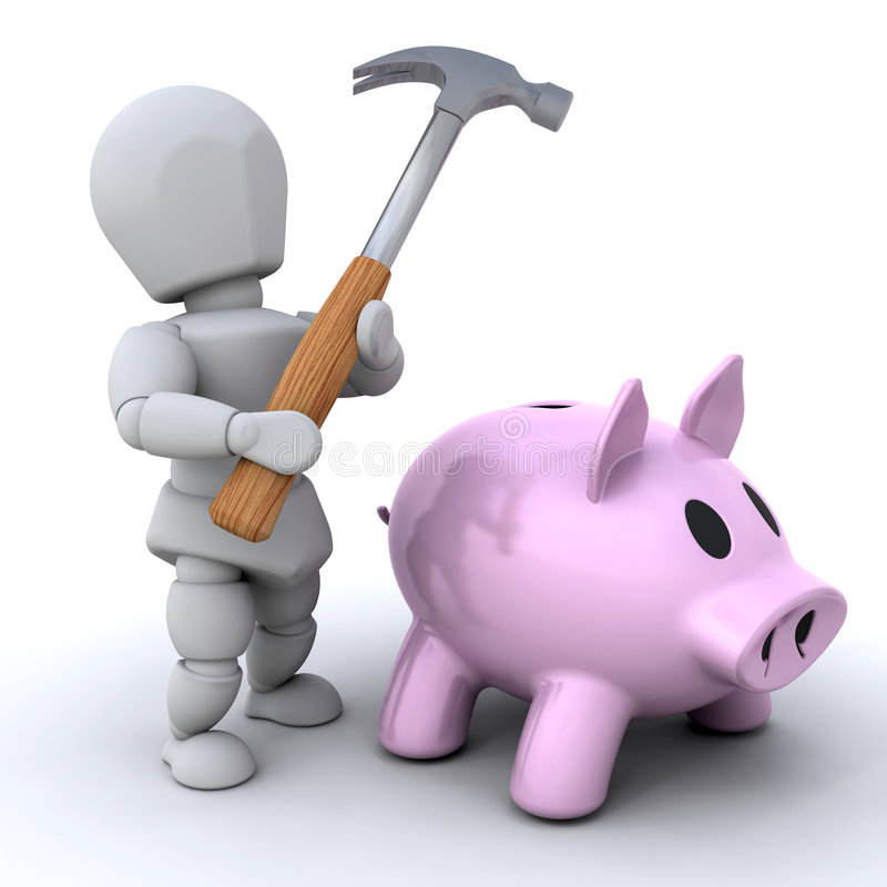 Free Smash The Piggy Bankq Royalty Free Stock Photography - 7170847