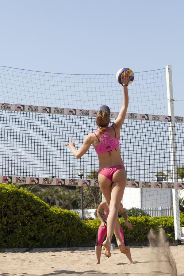 Smash. Woman jumping. Volleyball stock image