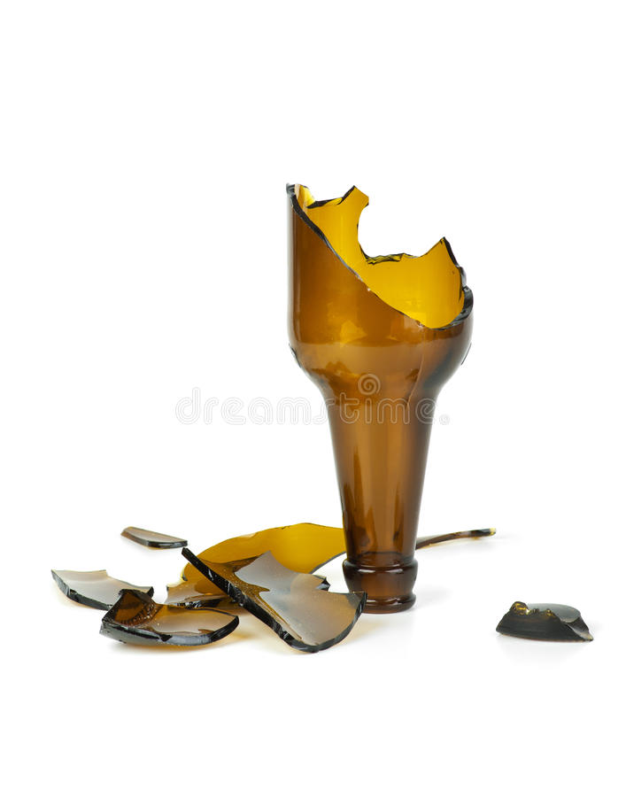 Smashed brown beer bottle royalty free stock image