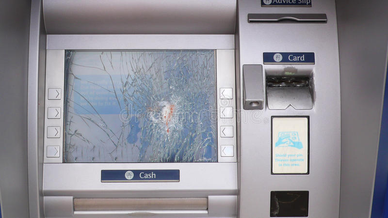 A smashed cash machine royalty free stock photo