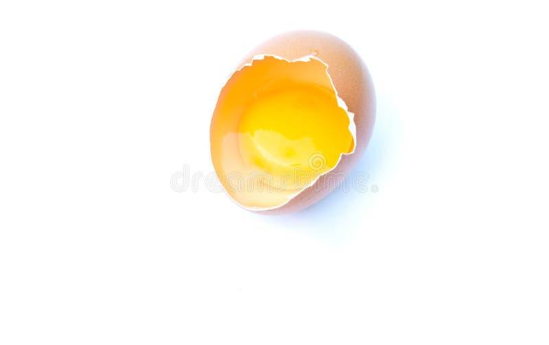 Smashed egg. Egg smashed against a white background stock photo