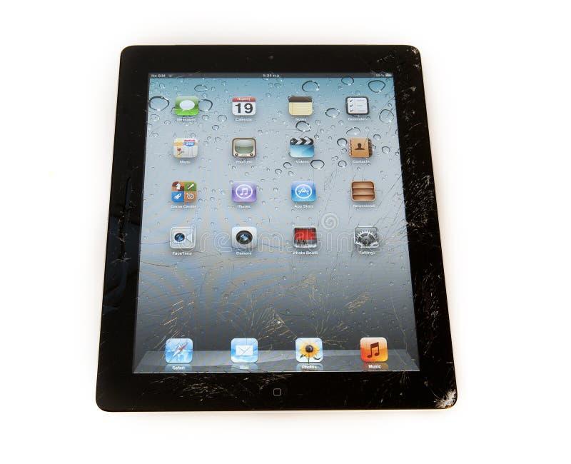 Smashed ipad digital tablet stock photos