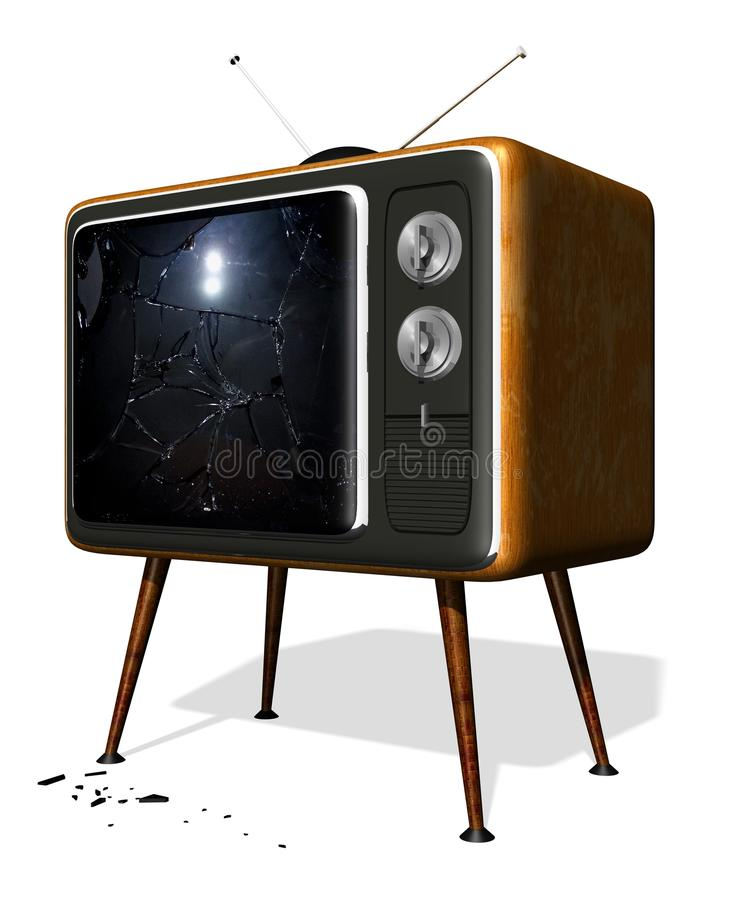 Smashed retro tv stock photo