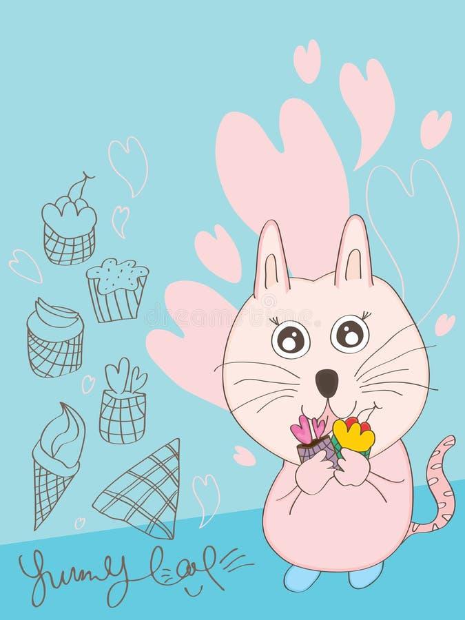 Smaskiga Cat Desire Cup Cake royaltyfri illustrationer
