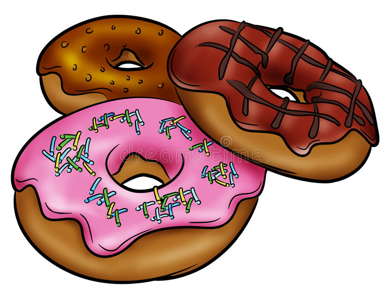 smaskiga donuts vektor illustrationer