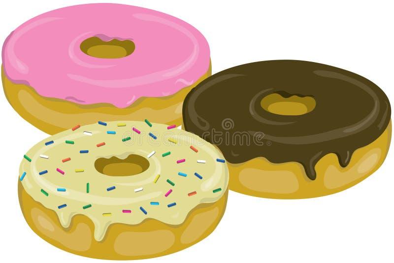 smaskiga donuts tre stock illustrationer