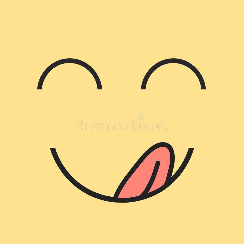 Smaskigt leende Den läckra smakliga ätaemojiframsidan äter med gourmet- tyckande om smak för mun och för tunga Rolig hungrig smas vektor illustrationer