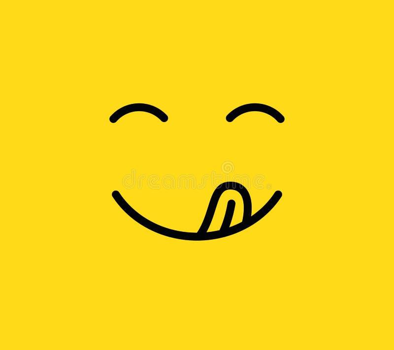 Smaskigt leende Läcker smaklig ätaemojiframsida med munnen och tunga Rolig hungrig lynnelinje vektorsymbol stock illustrationer