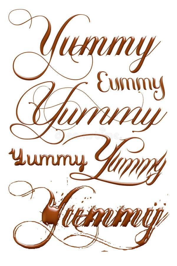 smaskigt ord för choklad 3D stock illustrationer