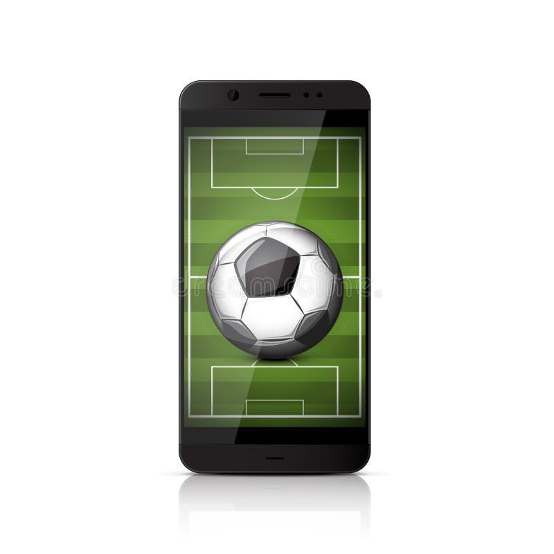Smatrphone con pallone da calcio illustrazione di stock