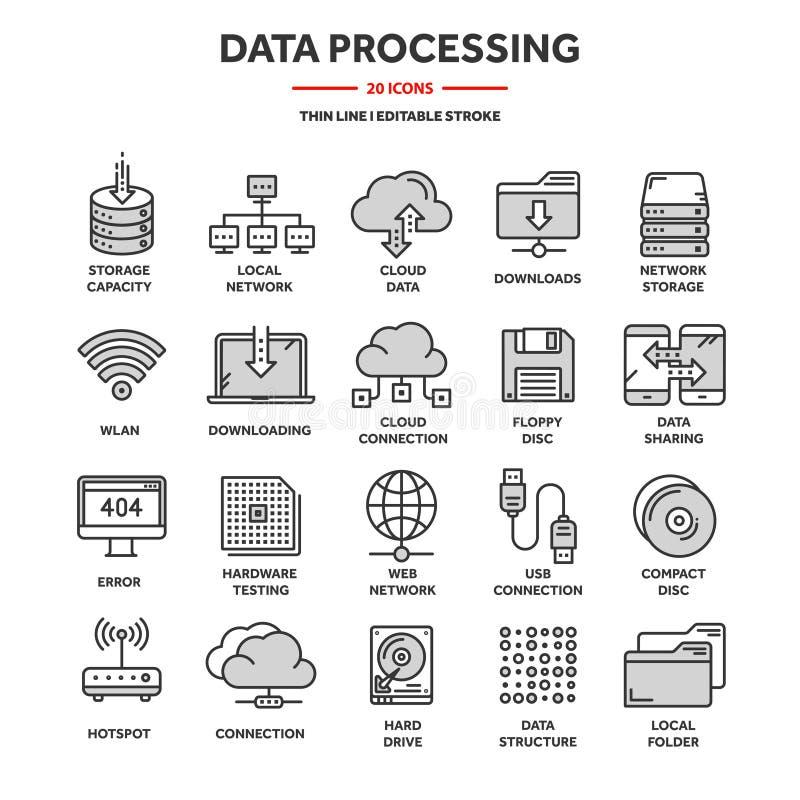 云彩计算 互联网技术 联机服务 数据处理,信息保障 连接 稀薄的线网 向量例证
