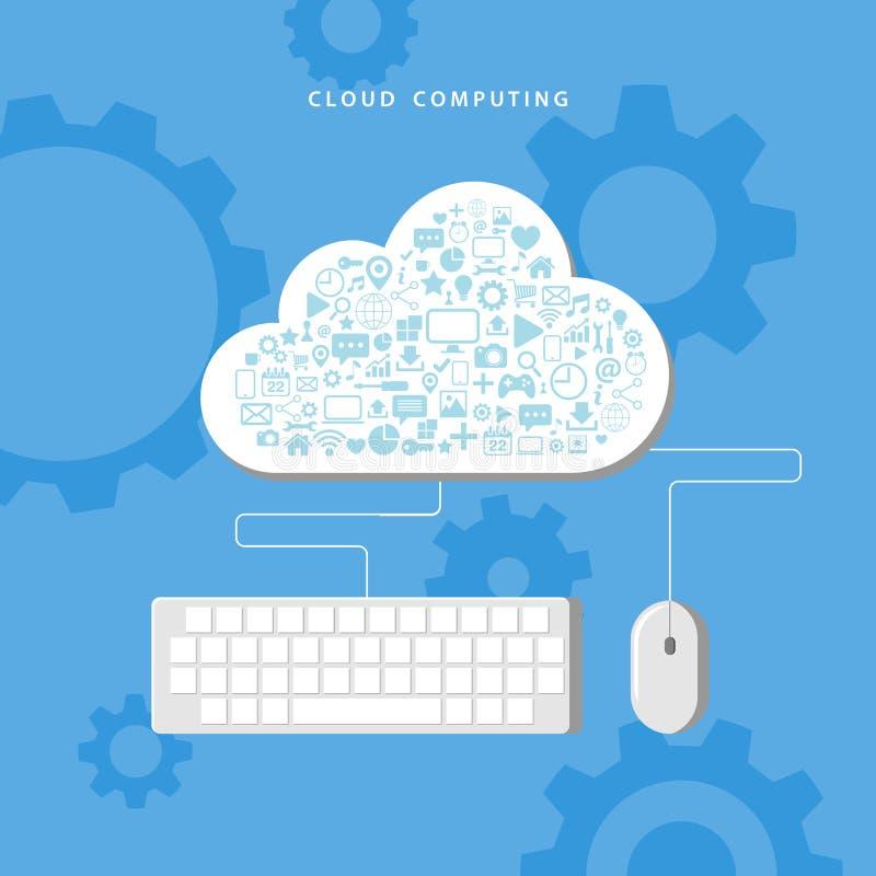 SMAU 2010 - de wolk van Microsoft gegevensverwerking Het netwerktechnologie van de gegevensopslag vector illustratie