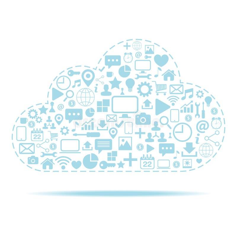 SMAU 2010 - de wolk van Microsoft gegevensverwerking Pictogrammen met de vectorillustratie die van het wolkenpictogram worden gep royalty-vrije illustratie