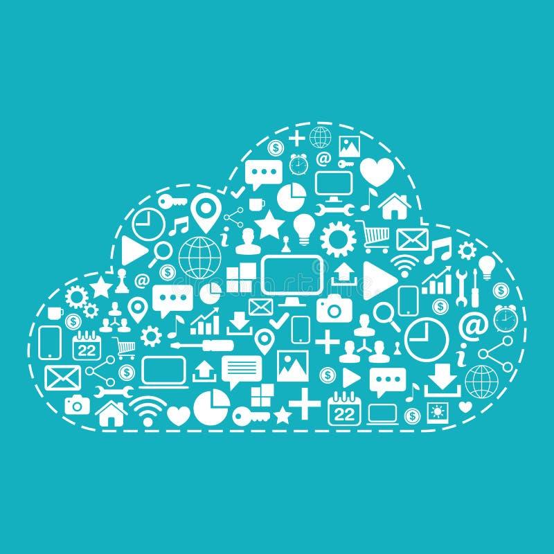 SMAU 2010 - de wolk van Microsoft gegevensverwerking Webpictogrammen op blauwe vectorillustratie worden geplaatst die als achterg stock illustratie