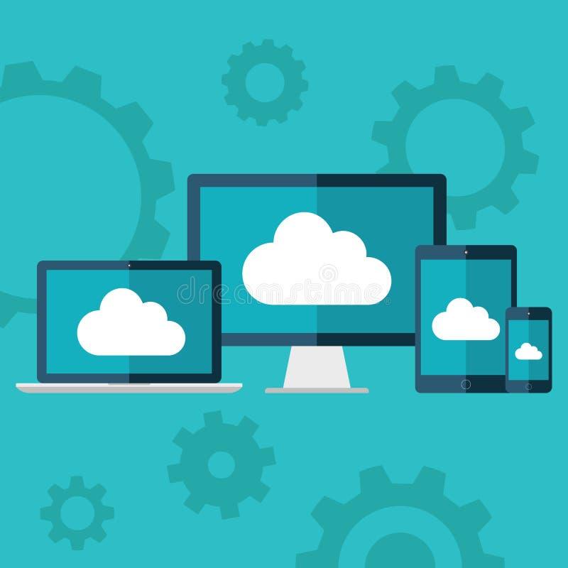 SMAU 2010 - Microsoft nubla-se a computação Ilustração lisa do projeto do portátil, do computador de secretária, da tabuleta e do ilustração do vetor