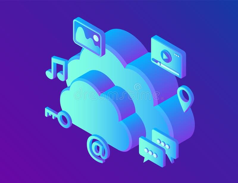SMAU 2010 - Microsoft nubla-se a computação Nuvem com apps Dispositivo do armazenamento de dados, servidor dos meios Tecnologia d ilustração stock