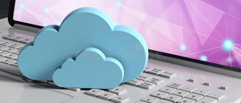 SMAU 2010 - Microsoft-Wolkendatenverarbeitung Blaue Wolken auf einem Computerlaptop, Fahne Abbildung 3D lizenzfreie abbildung