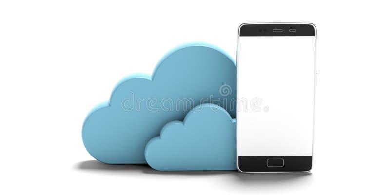 SMAU 2010 - Microsoft-Wolkendatenverarbeitung Blaue Wolken und ein Smartphone, lokalisiert auf weißem Hintergrund Abbildung 3D lizenzfreie abbildung