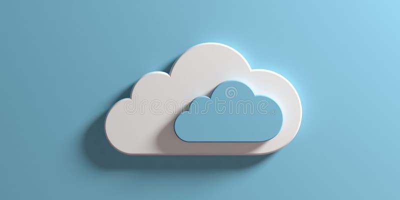 SMAU 2010 - Microsoft-Wolkendatenverarbeitung Wolken lokalisiert auf blauem Wandhintergrund Abbildung 3D vektor abbildung