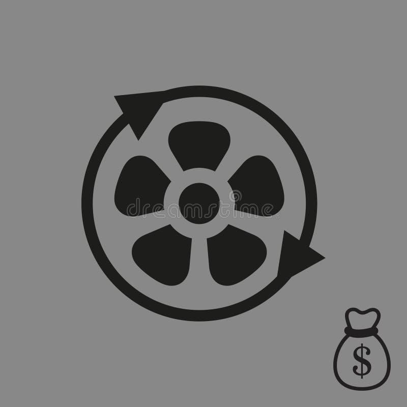Smazzi la progettazione piana dell'illustrazione di vettore delle azione dell'icona dell'elica aereo illustrazione di stock