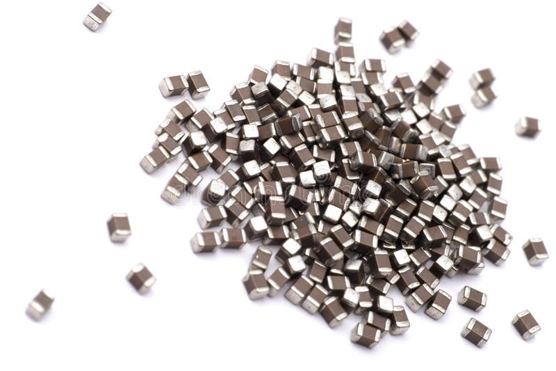 SMD capacitors royalty free stock photos