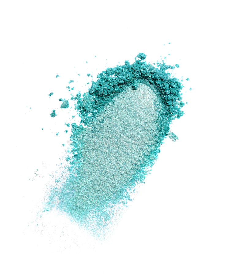 Smear of crushed teal eyeshadow as sample of cosmetic product royalty free stock image