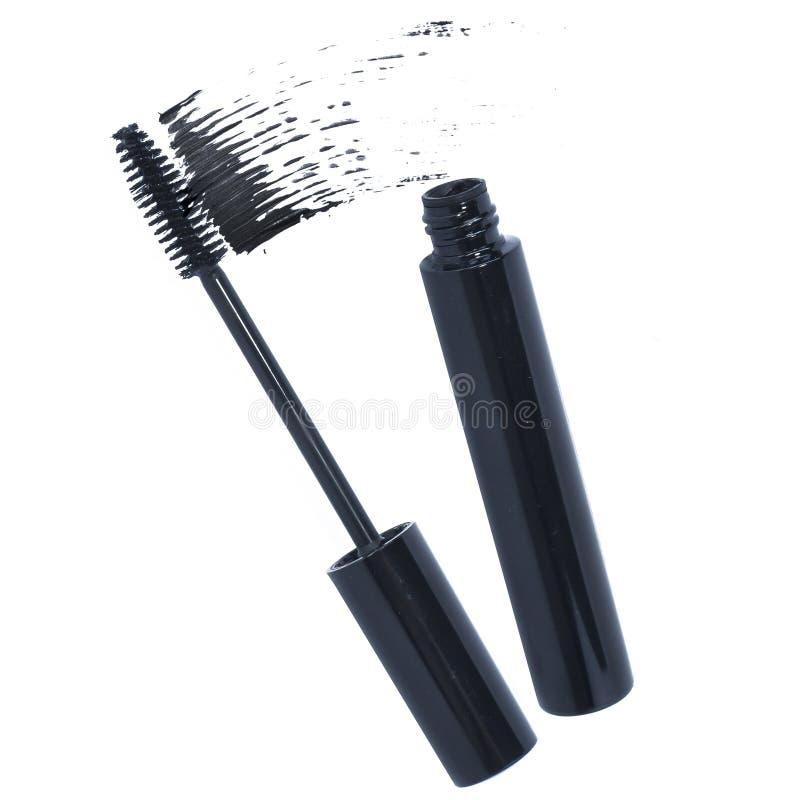 Smear of mascara. Stroke sample of black mascara royalty free stock photography