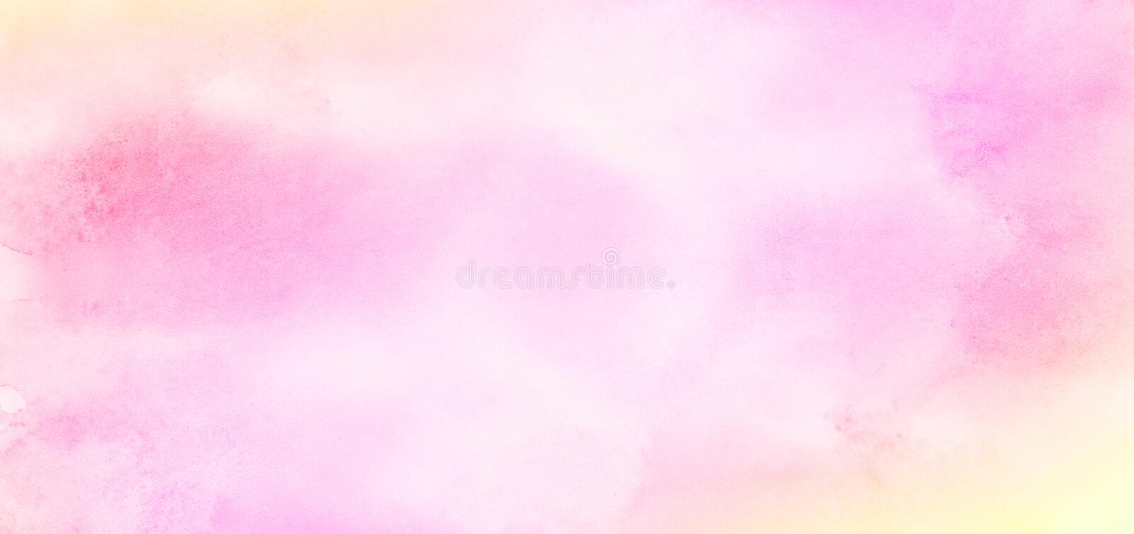 Smeared bright ink light pink color shades gradient illustration on textured paper background. Subtle aquarelle painted magenta watercolor canvas for stain royalty free stock photos