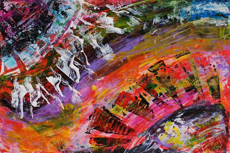 Smears paint. Using acrylic. Painting royalty free illustration