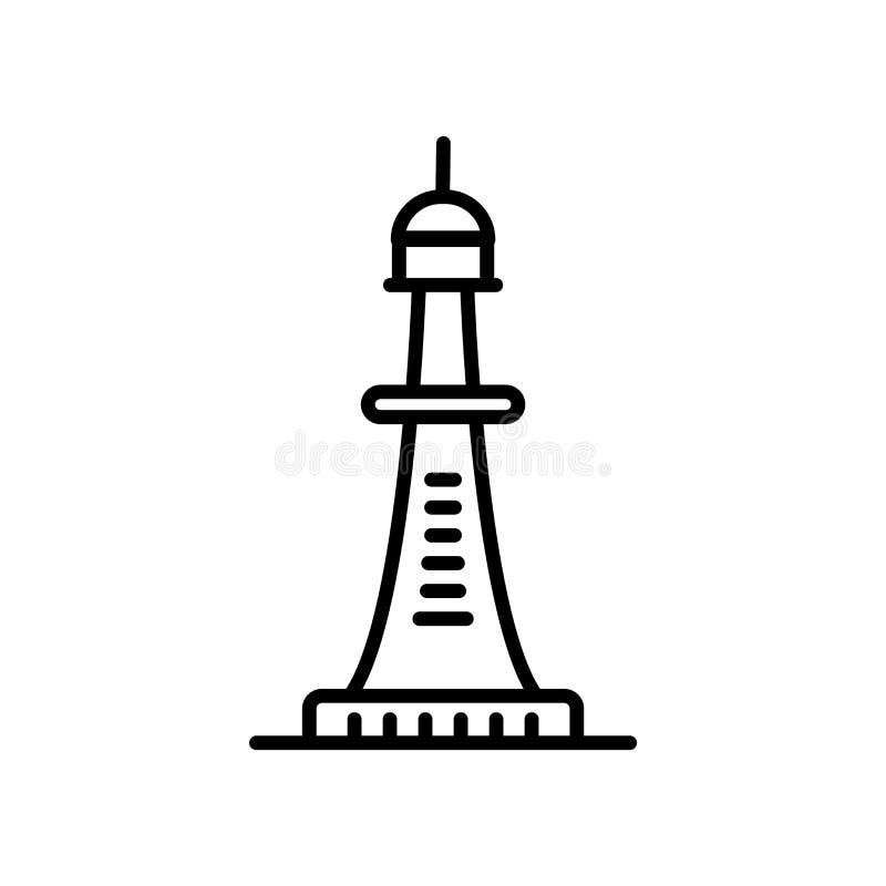 Smeaton的塔在白色背景,Smeaton的塔标志、线或者线性标志隔绝的象传染媒介,在概述的元素设计 向量例证