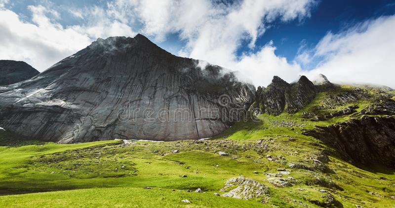 Smeden Mountaintop, Lofoten Islands, Norway stock photo