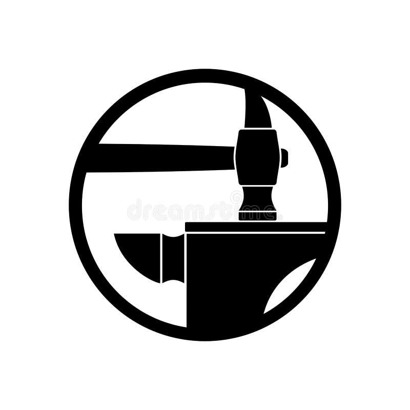 Smedjalogo smedjasymbol Hammare- och städemblem Tappningtecken royaltyfri illustrationer