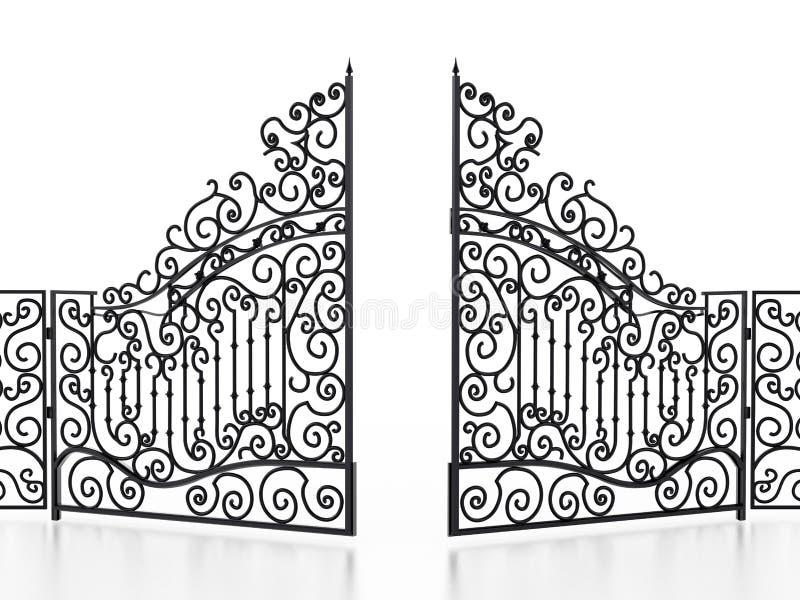Smeedijzerpoort die op witte achtergrond wordt geïsoleerd 3D Illustratie royalty-vrije illustratie