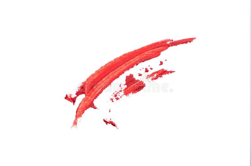 Smeer de rode borstel op witte achtergrond stock illustratie