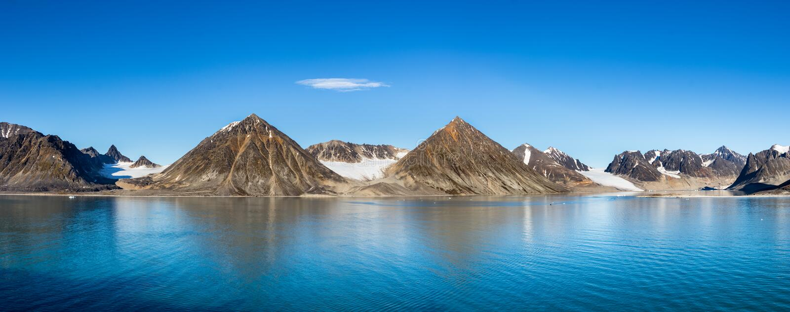 Smeerenburg bay and glaciers in Spitsbergen islands, Svalbard, Norway. Panoramic view of the Smeerenburg bay and glaciers in Spitsbergen islands, Svalbard stock photography