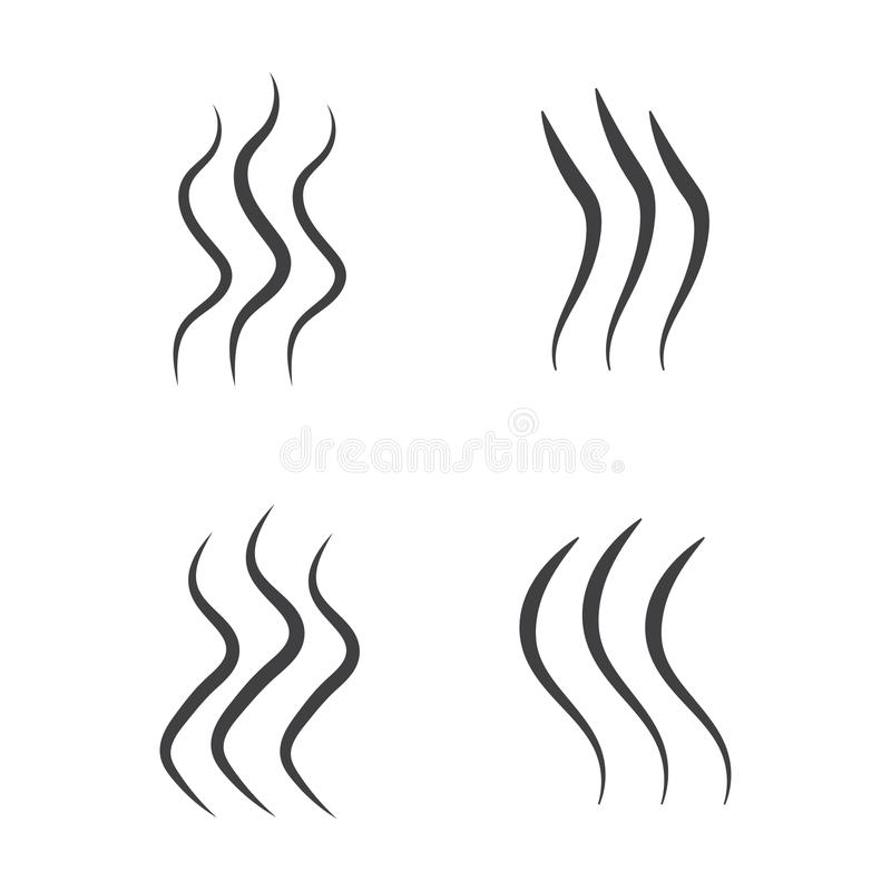 Smell aroma and heat sign set. Stock vector illustration of odor and scent or hot vapor silhouettes by 3 lines isolated on white b. Ackground stock illustration