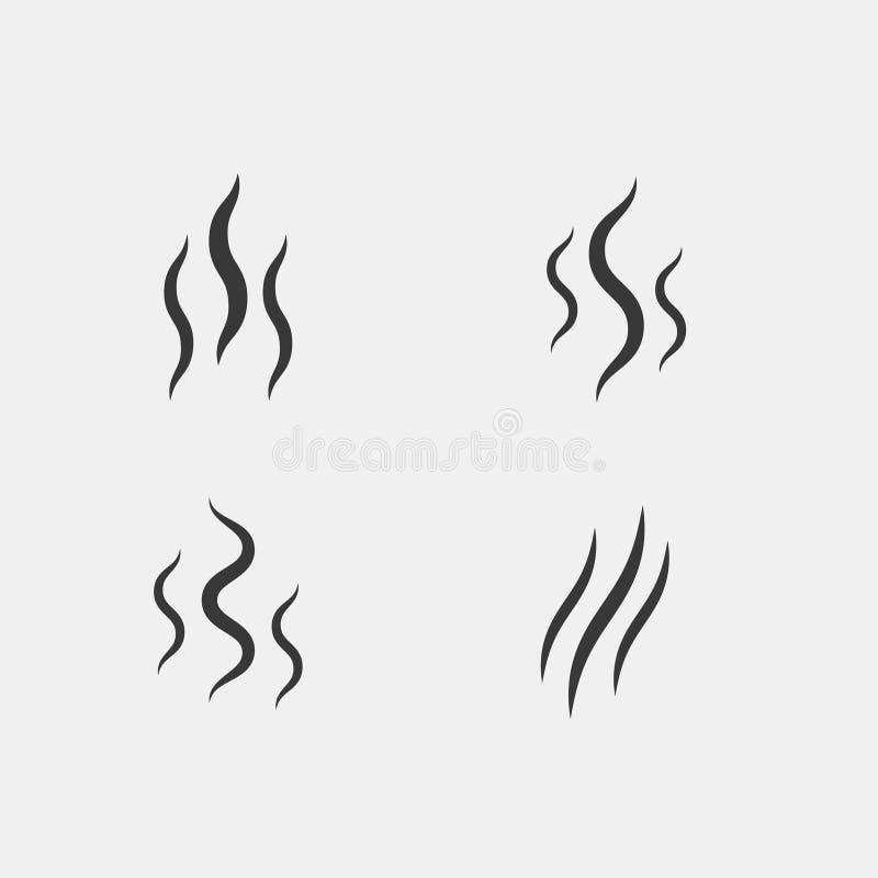 Smell aroma stream smoke vector. Lines set vector illustration