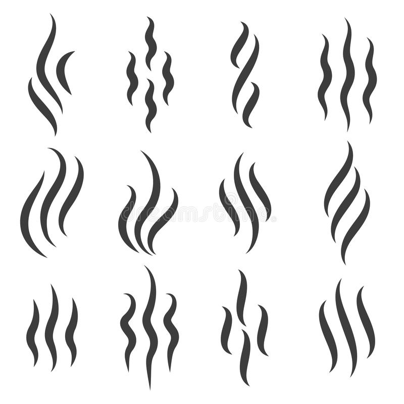 Steam or warm aroma smell mark. Smell icons. Cooking steam or warm aroma smell mark, steaming vapour odour symbols stock illustration