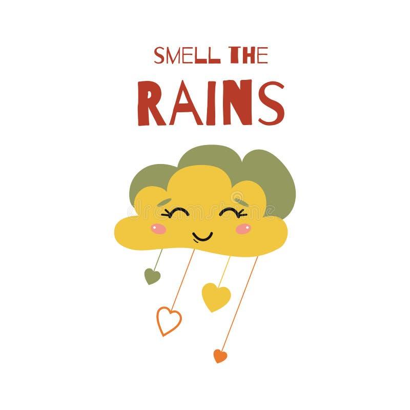 Smell the rain text Cloud Rain of heart drops isolated on white Fall autumn vector print vector illustration