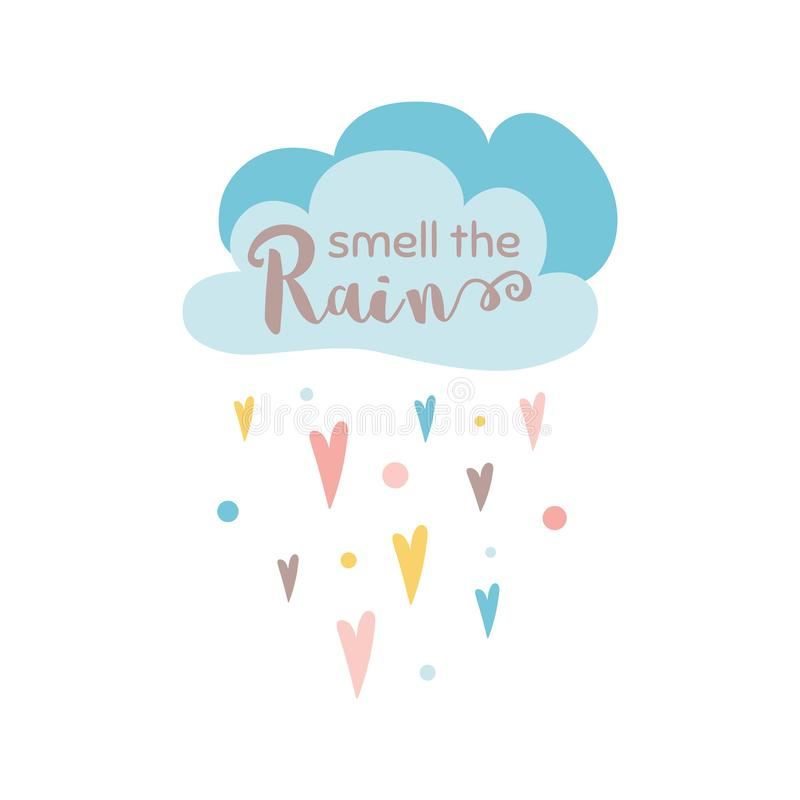 Smell the rain text Cloud Rain of heart shapes isolated on white Fall autumn vector print vector illustration
