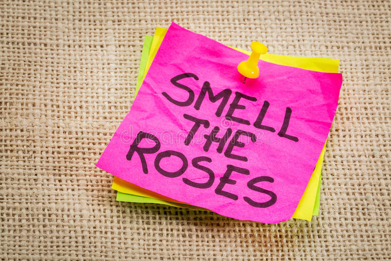 Smell the roses reminder note stock photos