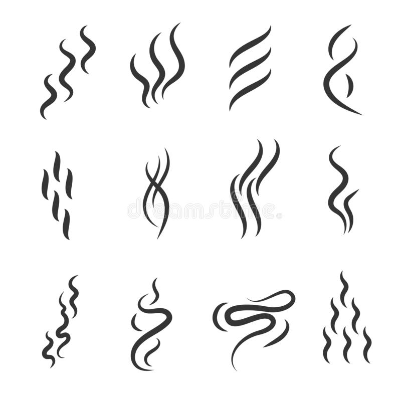 Smell Signs Black Thin Line Icon Set. Vector. Smell Signs Black Thin Line Icon Set Include of Fume, Vapor, Scent, Odor and Aroma. Vector illustration of Icons stock illustration