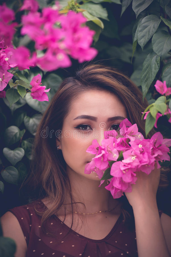 Smelling spring royalty free stock photography