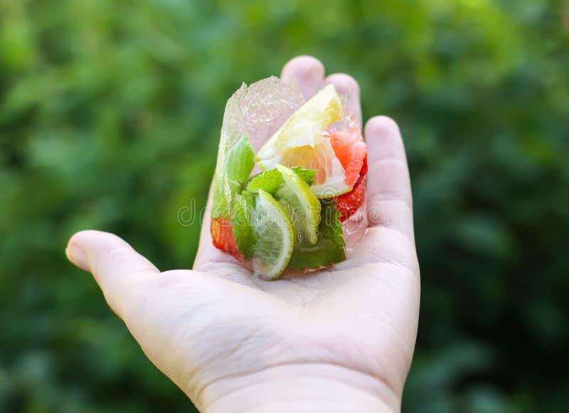 Smeltend ijsblokje met aardbei, citroen en groene muntbladeren stock afbeeldingen
