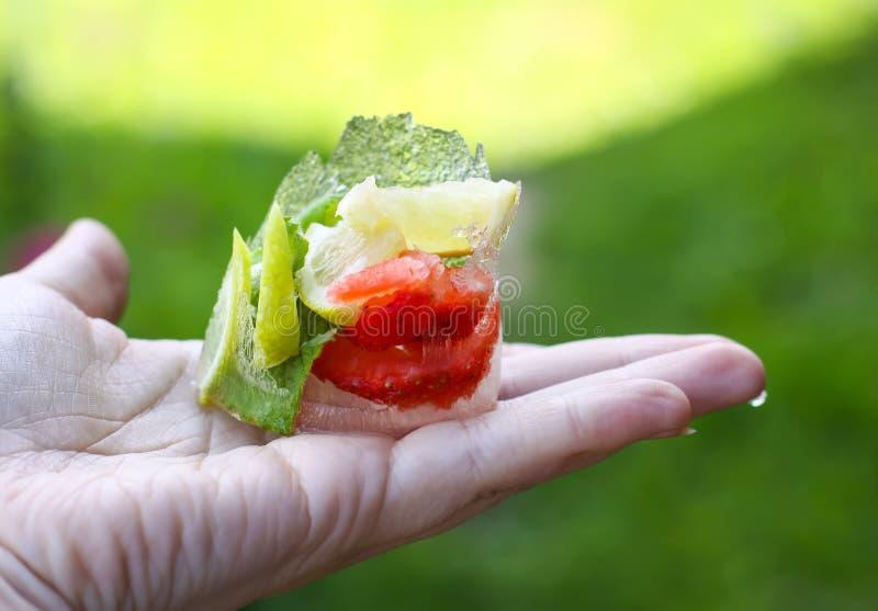 Smeltend ijsblokje met aardbei, citroen en verse groene muntbladeren stock afbeelding