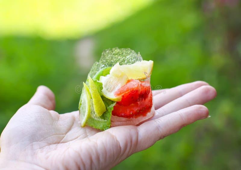 Smeltend ijsblokje met aardbei, citroen en verse groene muntbladeren stock foto
