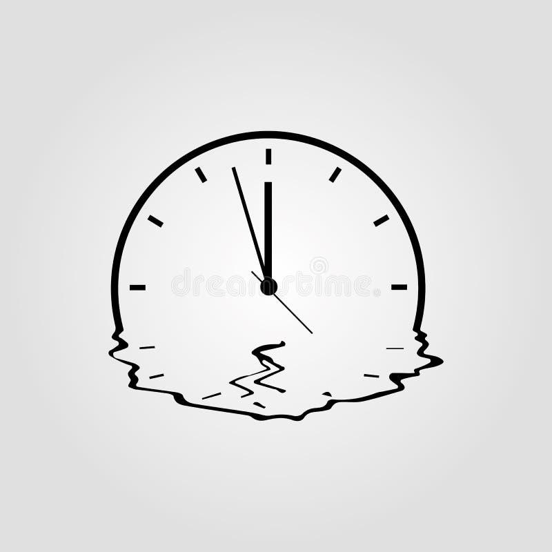 Smeltend klok eenvoudig vectordiepictogram op witte achtergrond wordt ge?soleerd Meitedtijd, organisatie van de toekomst of afloo stock illustratie