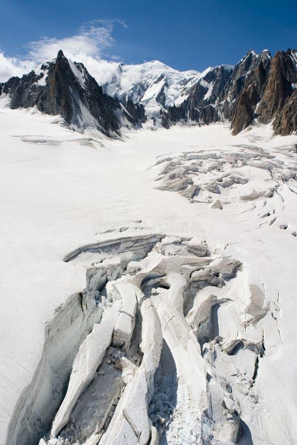 Smeltende Gletsjer - Chamonix, Frankrijk stock foto
