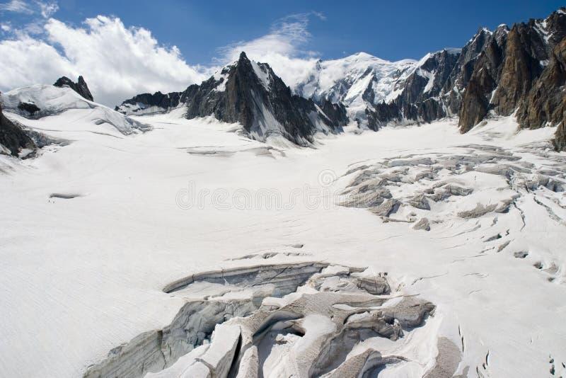 Smeltende Gletsjer - Chamonix, Frankrijk stock foto's